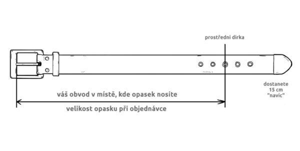 délka opasku se měří od nejpoužívanějí dírky po konec hrotu přezky.