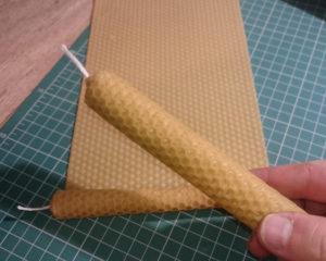 svíčka z mezistěny, včelího vosku